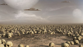 Spaceships over a field of skulls Royalty Free Stock Photos