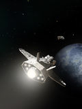 Spaceships Passing on Planetary Approach Stock Photos