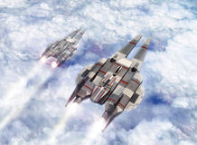Spaceships on patrol. Two sspaceship on patrol over an alien planet in 3d Royalty Free Stock Images