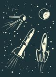 Spaceships racing in vector Royalty Free Stock Images