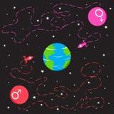 Spaceships van Mars en Venus dat naar Aarde gaan Stock Afbeelding