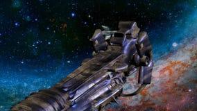 Spaceshipsaanval stock illustratie