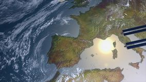 Spacestation flying over Europe Royalty Free Stock Images