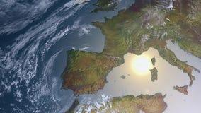 Spacestation volant au-dessus de l'Europe illustration libre de droits
