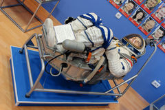Spacesuit. astronaut`s suit in a museum. Baikonur Cosmodrome. Kazakhstan.  stock image