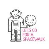 Spacewalk Astronaut Line Art Romantic Illustration Royalty Free Stock Photography