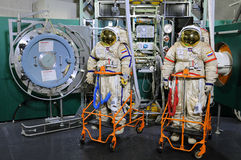 Spacewalk Trainer in Star Cty. Orlan spacesuits and airlock operations trainer in the Cosmonauts' Training Center for EVA training on ISS exterior on March 18 Stock Photo