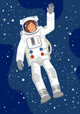 Spacewoman. Woman astronaut with raised hand in the Space, vector vector illustration