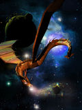 Spatial leviathan. Leviathan, like a dragon, by crossing the space destructing planets Royalty Free Stock Photo