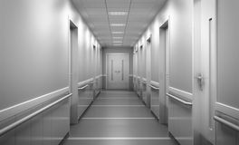 spaciou borrado brilhante moderno do corredor do fundo da clínica médica Fotos de Stock
