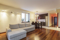 Spacious apartment - Living room Stock Photos