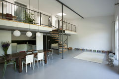 Spacious Apartment With Mezzanine Royalty Free Stock Photography
