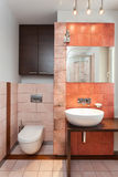 Spacious apartment - Modern bathroom Stock Photo