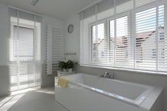 Spacious bathroom. Interior of spacious bathroom with bright tiles Royalty Free Stock Photos