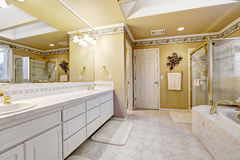 Spacious bathroom in luxury house Stock Photos