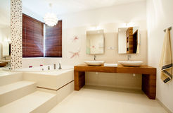 Spacious bathroom in modern house Stock Photos