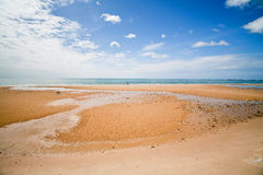 Spacious beach. During low tide, sliding clouds in the sky. Cha-Am Thailand Royalty Free Stock Photo