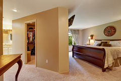Spacious bedroom interior with walk in closet Stock Image
