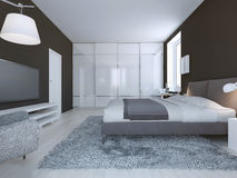 Spacious bedroom minimalist style Stock Image