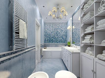 Spacious blue bathroom classic style Royalty Free Stock Photography