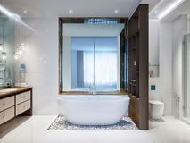 Spacious and bright modern bathroom Stock Image
