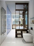 Spacious and bright modern bathroom Royalty Free Stock Photos