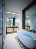 Spacious and bright modern bathroom Stock Images