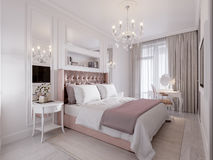 Spacious and Bright Modern Contemporary Classic Bedroom. Interior Design with Large Window, White walls, Mirror Panels and White Elegant Furniture. 3d stock illustration