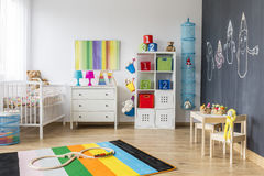 Spacious colorful child room Stock Photography