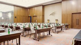 Spacious conference hall before meeting stock video footage