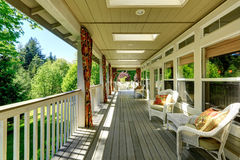 Spacious cozy backyad deck Royalty Free Stock Photo