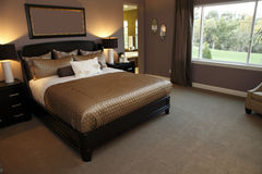 Spacious designer bedroom Royalty Free Stock Image