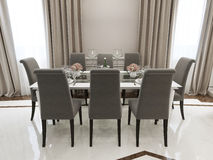 Spacious dining room classic style Royalty Free Stock Image