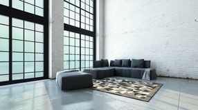 Spacious double volume living room interior Royalty Free Stock Photos