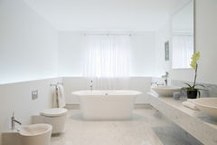 Spacious And Elegant Bathroom. View of a spacious and elegant bathroom Stock Photos