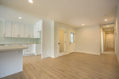 Spacious entry in California home with wood floors Royalty Free Stock Photos