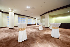 Spacious hall with columns and carpet Royalty Free Stock Image