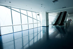Spacious hall with escalators Stock Photo