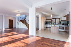 Spacious hall and open kitchen Royalty Free Stock Images