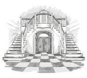 Spacious hall and staircase drawing, vector illustration Stock Photos