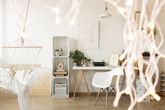 Spacious home office. For creative woman freelancer Stock Images