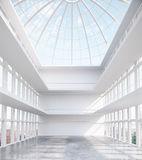 Spacious interior with glass ceiling. Unfurnished spacious concrete interior with round glass ceiling and city view. 3D Rendering Royalty Free Stock Image