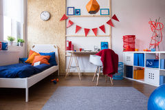 Spacious interior of teenager room. Photo of spacious and contemporary interior of teenager room Stock Photography