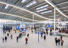 Spacious interior of Utrecht Central Railway Station, Netherlands Royalty Free Stock Image