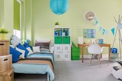 Spacious kid room. Picture of spacious kid room with sleeping and study area Stock Images