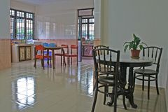Spacious Kitchen. A huge kitchen and dining hall Royalty Free Stock Photo