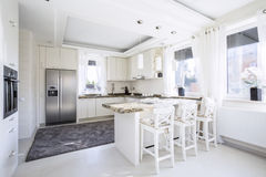 Spacious kitchen with countertop Royalty Free Stock Photography