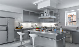 Spacious kitchen Royalty Free Stock Images