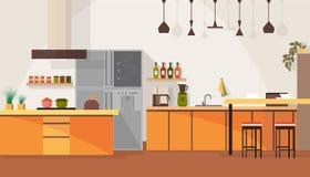 Modern Kitchen Interior Design Cartoon Vector vector illustration