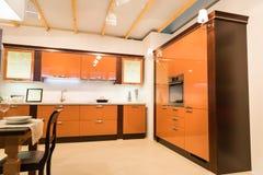Spacious kitchen interior Royalty Free Stock Images